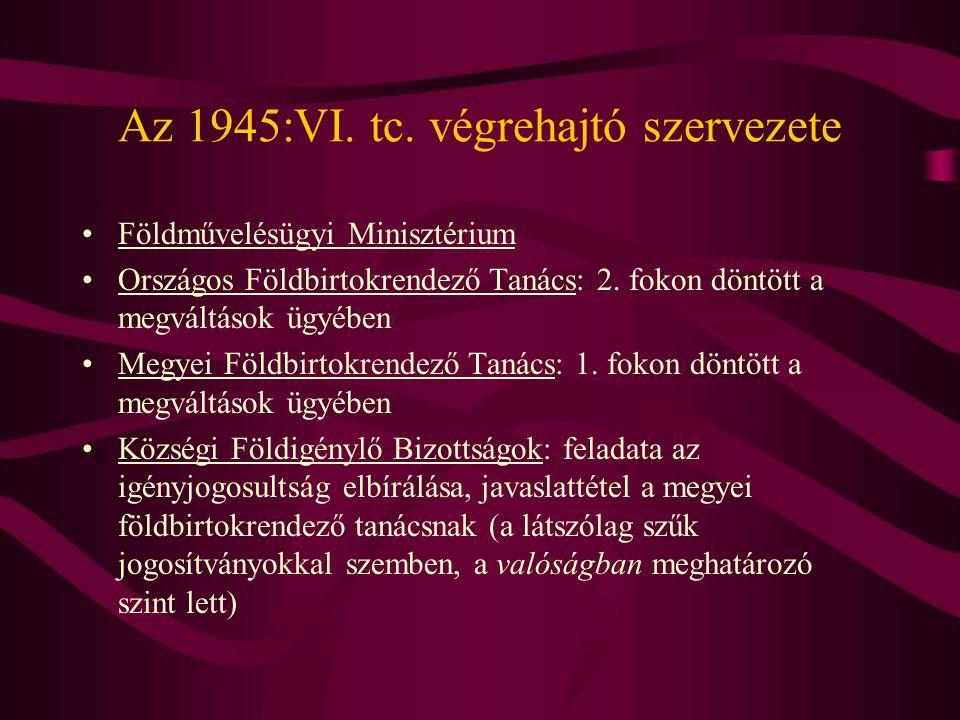 Az 1945:VI. tc. végrehajtó szervezete
