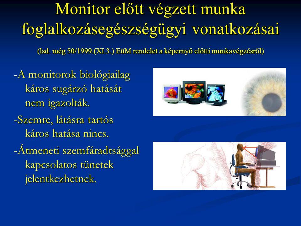 Monitor előtt végzett munka foglalkozásegészségügyi vonatkozásai (lsd