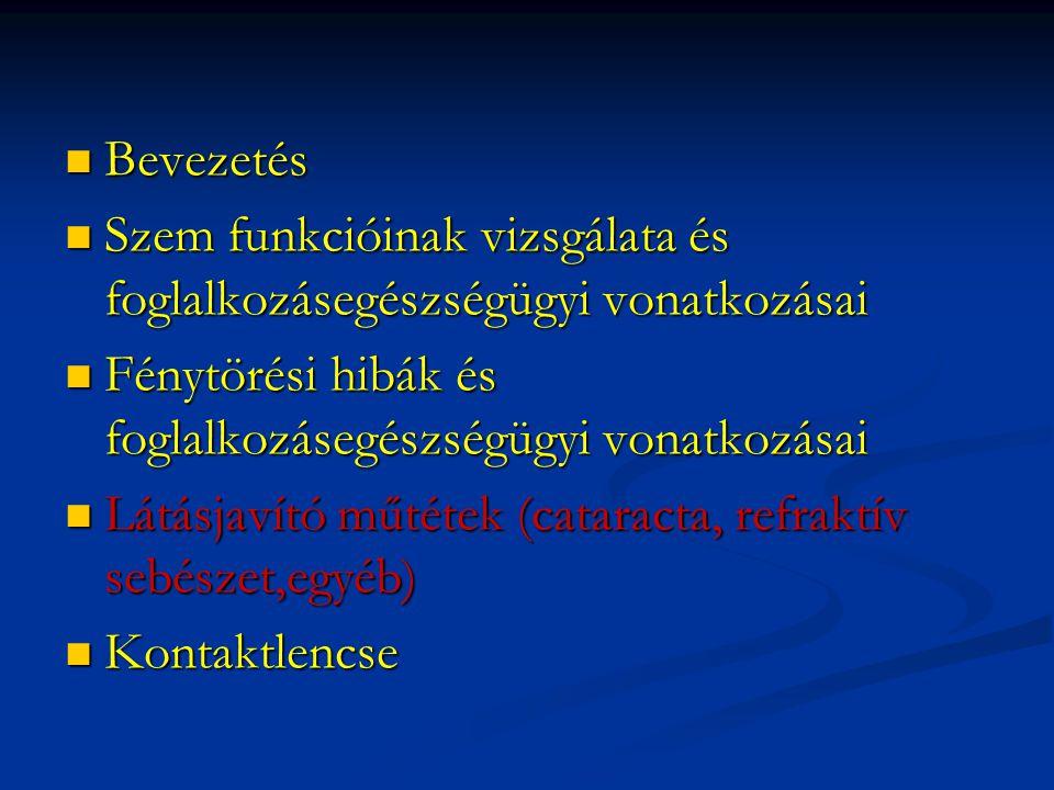 Bevezetés Szem funkcióinak vizsgálata és foglalkozásegészségügyi vonatkozásai. Fénytörési hibák és foglalkozásegészségügyi vonatkozásai.