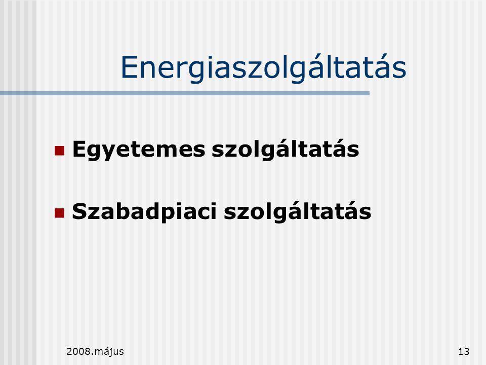 Energiaszolgáltatás Egyetemes szolgáltatás Szabadpiaci szolgáltatás