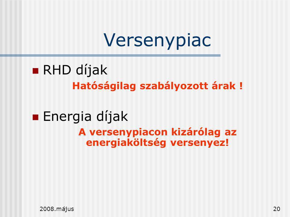Versenypiac RHD díjak Energia díjak Hatóságilag szabályozott árak !