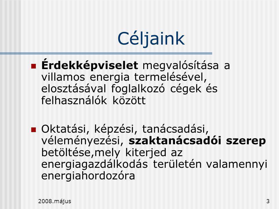 Céljaink Érdekképviselet megvalósítása a villamos energia termelésével, elosztásával foglalkozó cégek és felhasználók között.