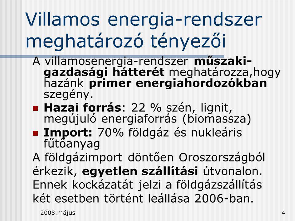 Villamos energia-rendszer meghatározó tényezői