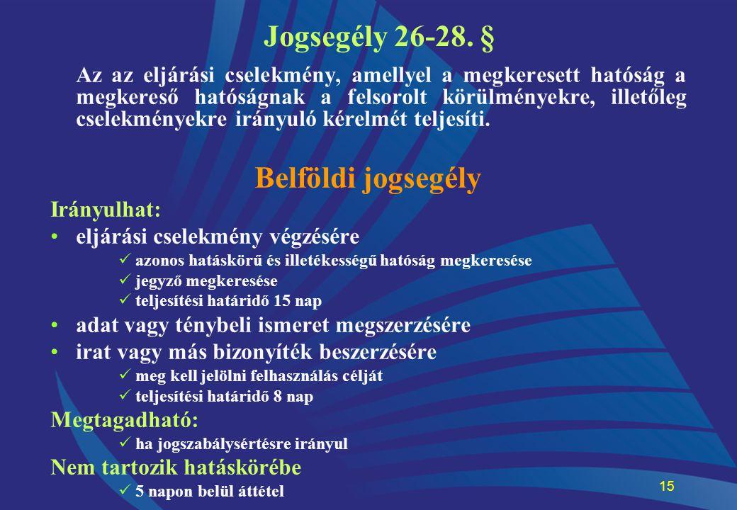 Jogsegély 26-28. § Belföldi jogsegély