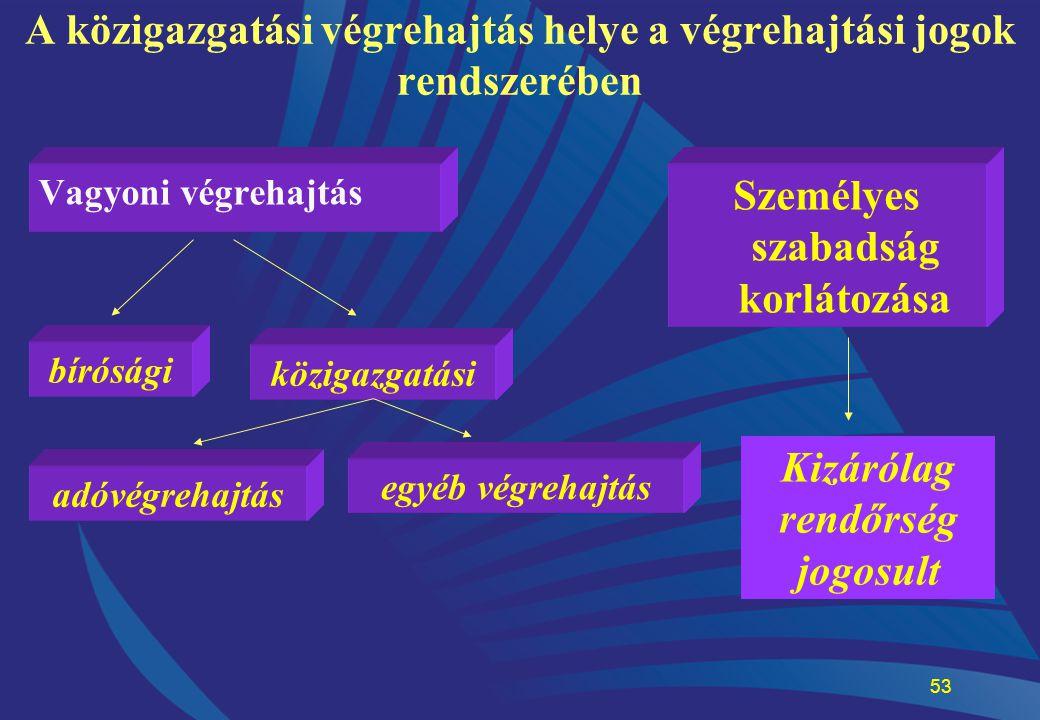 A közigazgatási végrehajtás helye a végrehajtási jogok rendszerében