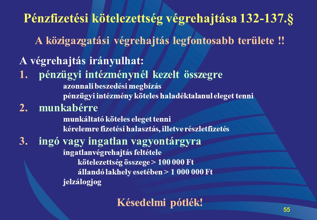 Pénzfizetési kötelezettség végrehajtása 132-137.§