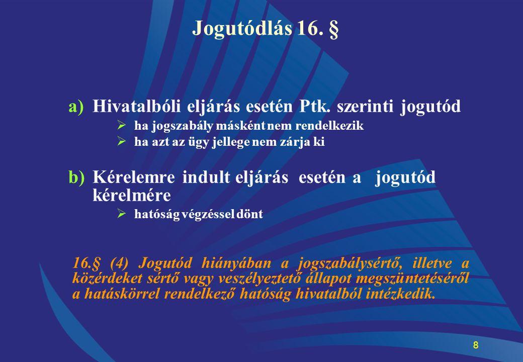 Jogutódlás 16. § Hivatalbóli eljárás esetén Ptk. szerinti jogutód