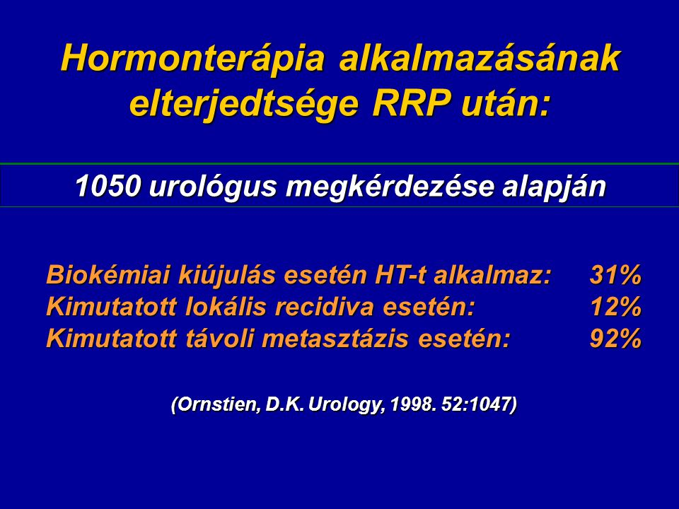 Hormonterápia alkalmazásának elterjedtsége RRP után: