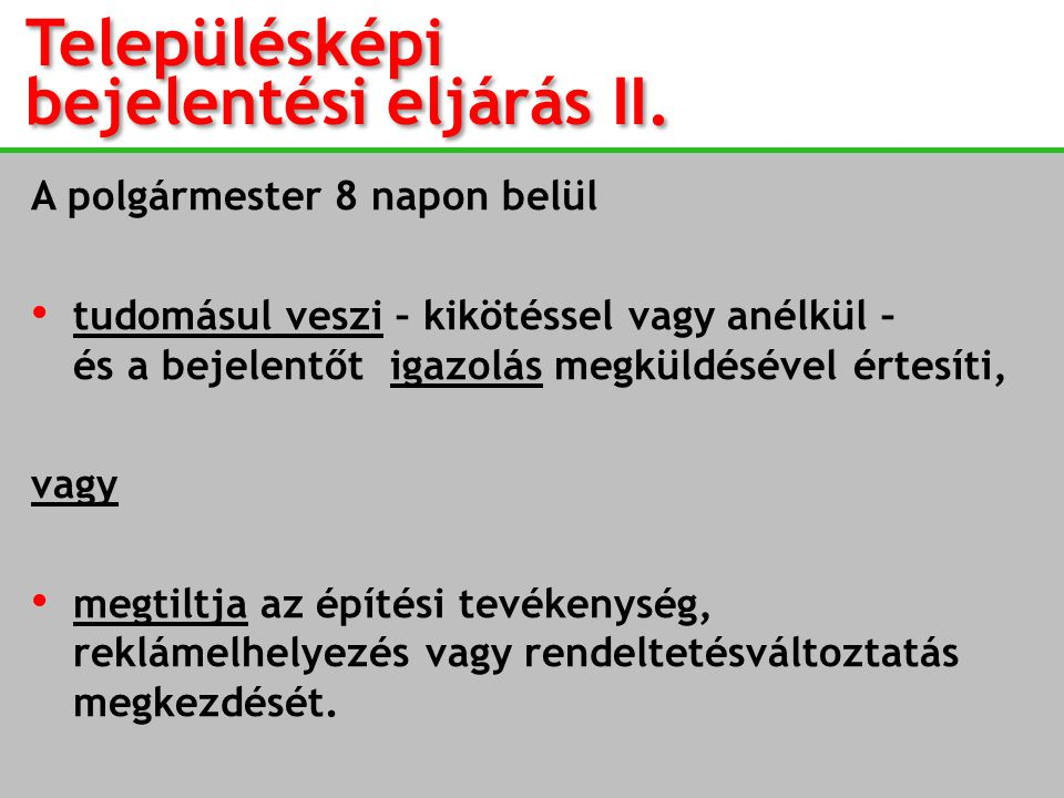 Településképi bejelentési eljárás II.