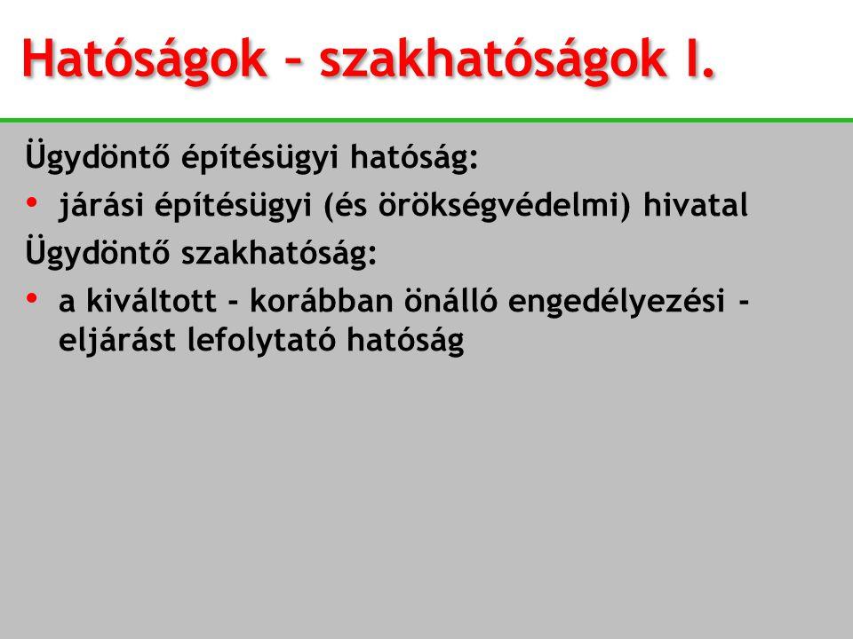Hatóságok – szakhatóságok I.