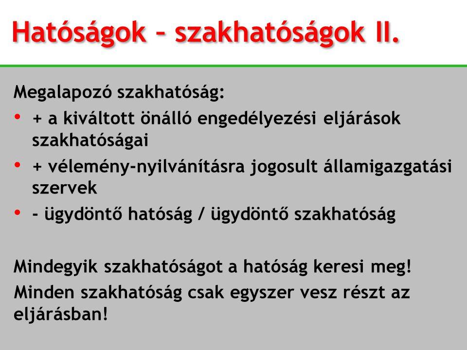 Hatóságok – szakhatóságok II.
