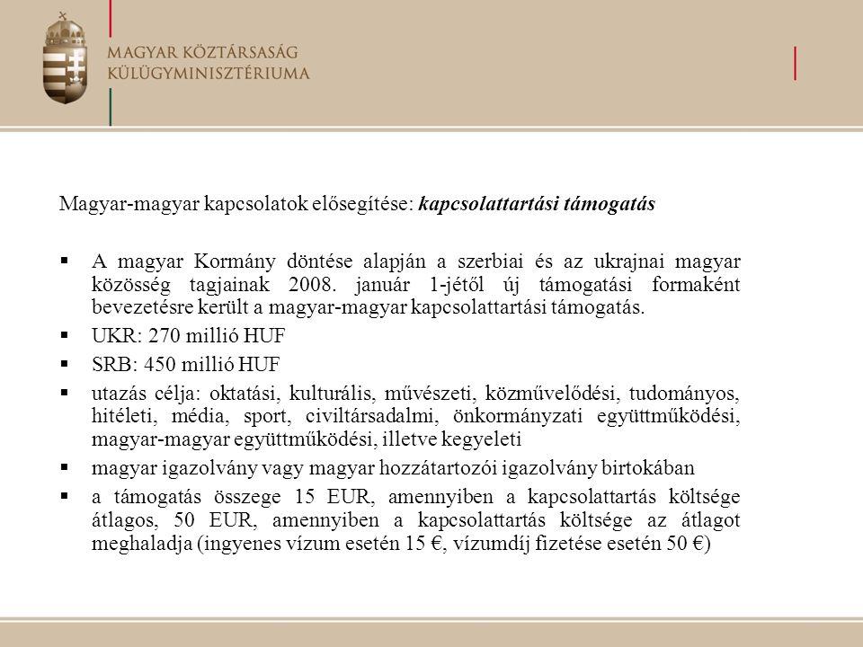 Magyar-magyar kapcsolatok elősegítése: kapcsolattartási támogatás