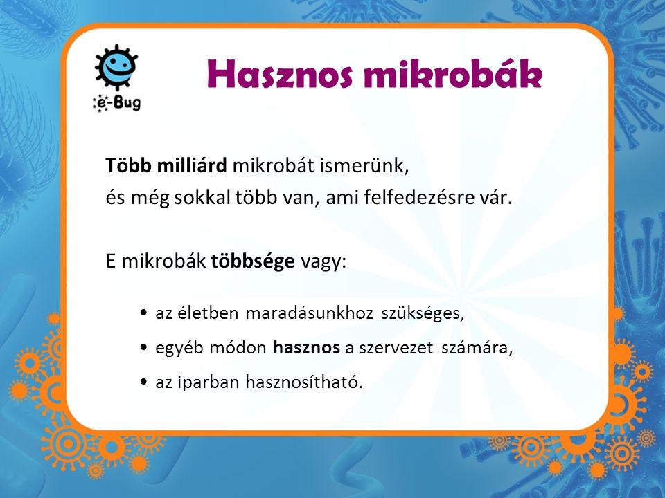 Hasznos mikrobák Több milliárd mikrobát ismerünk,