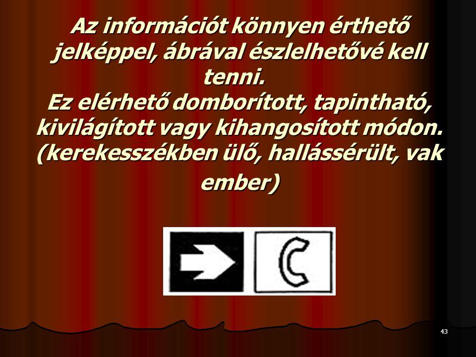 Az információt könnyen érthető jelképpel, ábrával észlelhetővé kell tenni.