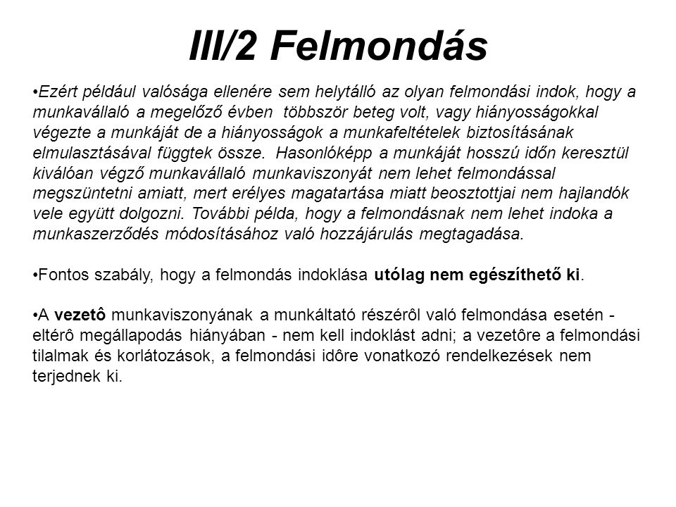 III/2 Felmondás