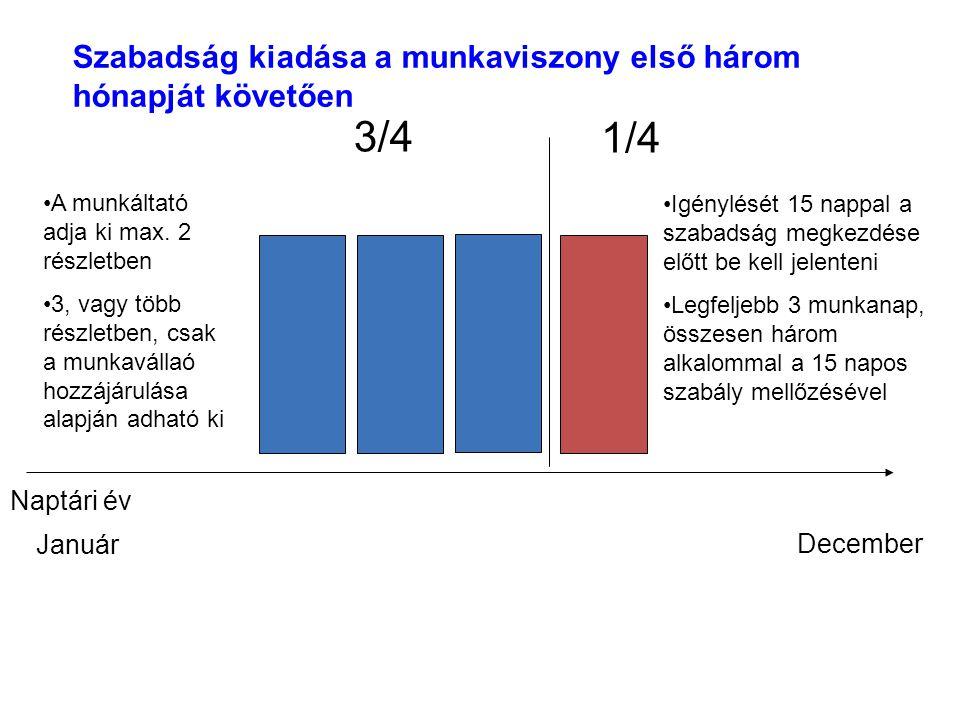 3/4 1/4 Szabadság kiadása a munkaviszony első három hónapját követően