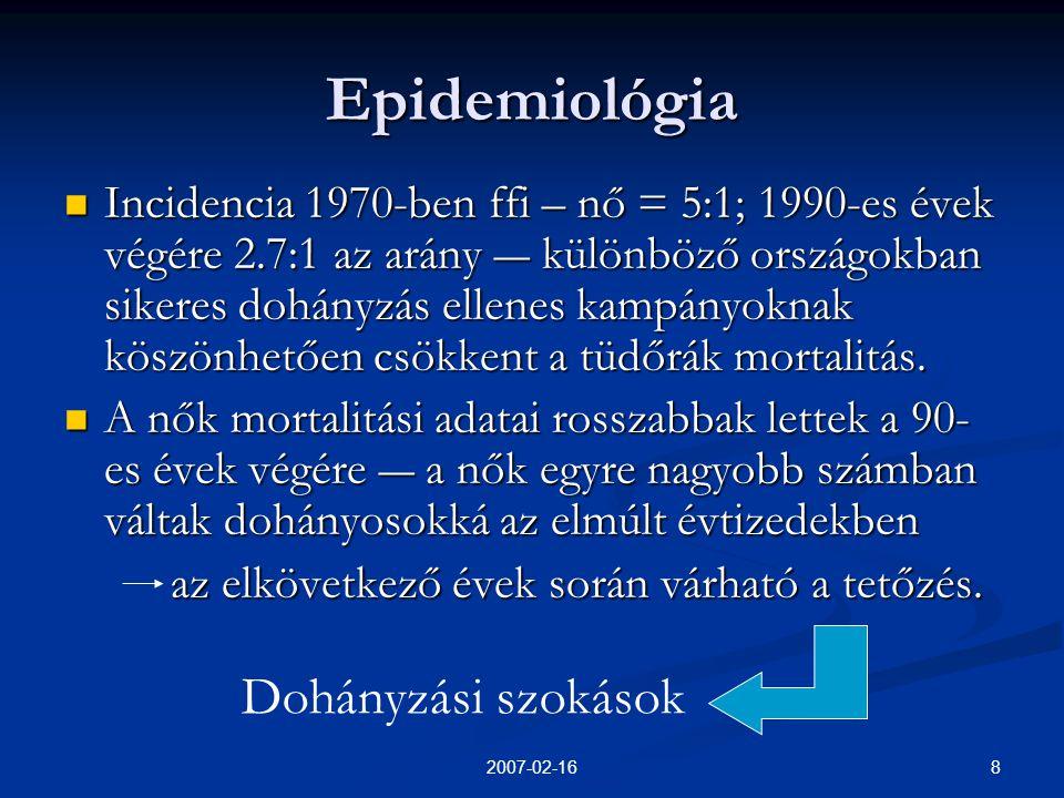 Epidemiológia Dohányzási szokások