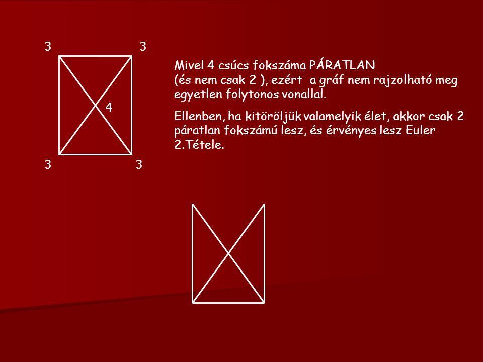 3 3. Mivel 4 csúcs fokszáma PÁRATLAN (és nem csak 2 ), ezért a gráf nem rajzolható meg egyetlen folytonos vonallal.