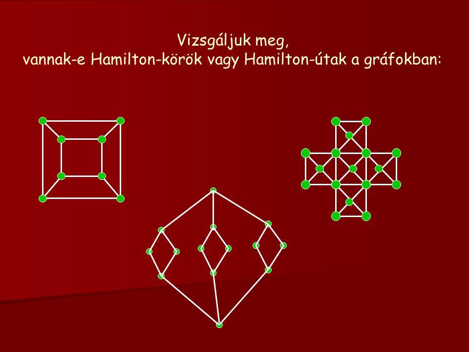 Vizsgáljuk meg, vannak-e Hamilton-körök vagy Hamilton-útak a gráfokban: