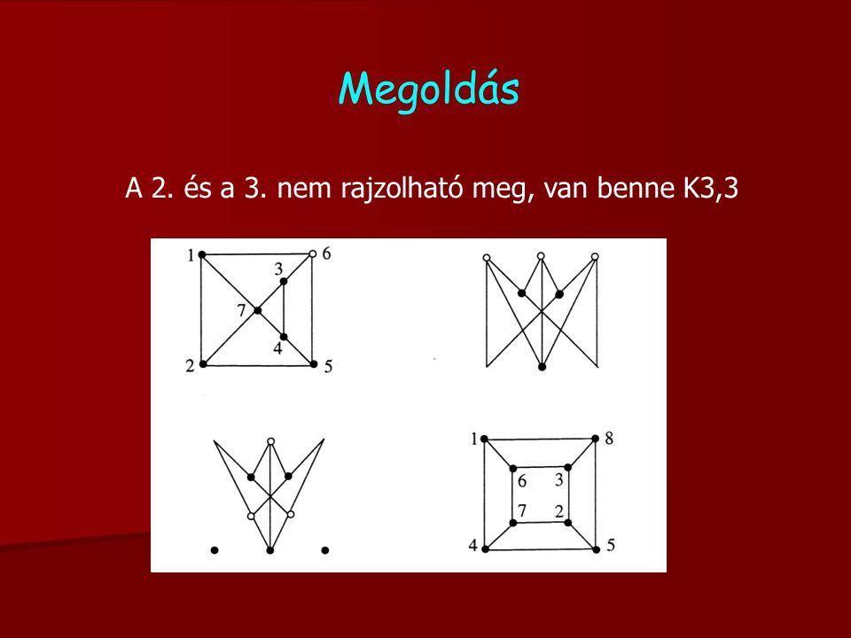 A 2. és a 3. nem rajzolható meg, van benne K3,3