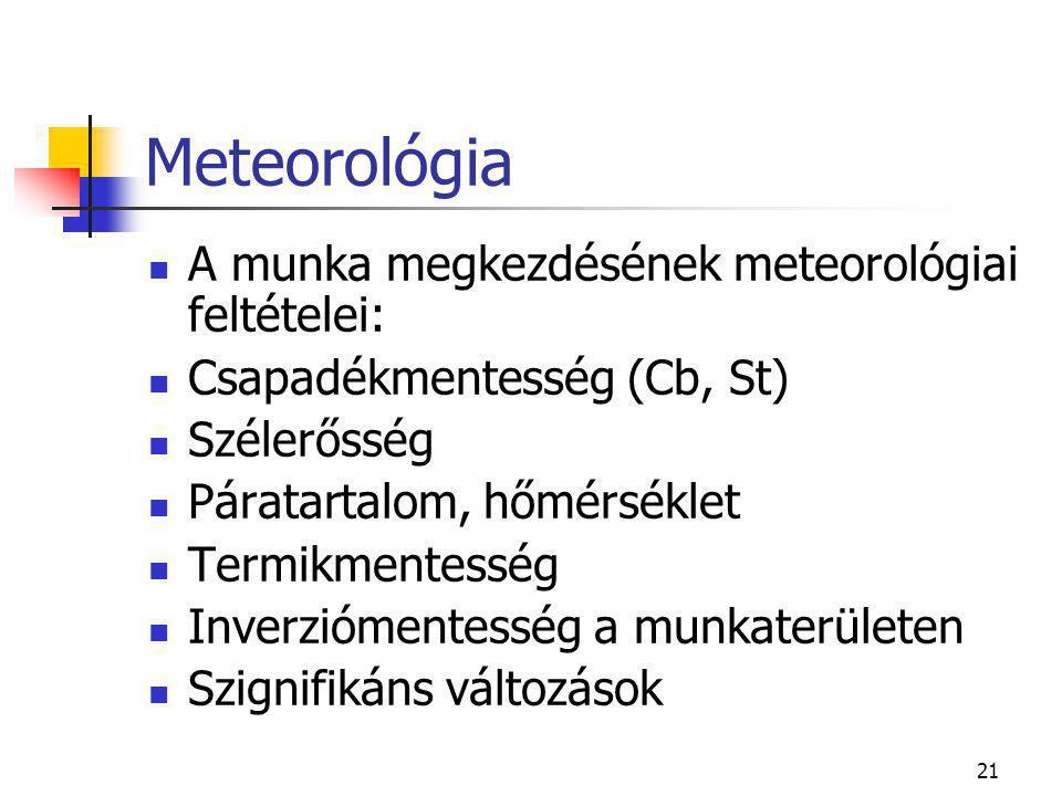 Meteorológia A munka megkezdésének meteorológiai feltételei: