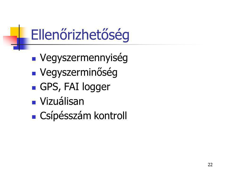 Ellenőrizhetőség Vegyszermennyiség Vegyszerminőség GPS, FAI logger