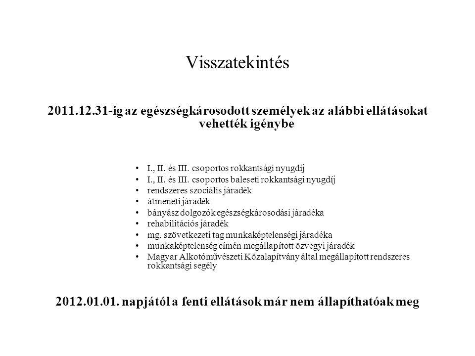 2012.01.01. napjától a fenti ellátások már nem állapíthatóak meg