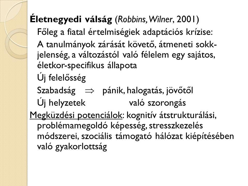 Életnegyedi válság (Robbins, Wilner, 2001) Főleg a fiatal értelmiségiek adaptációs krízise: A tanulmányok zárását követő, átmeneti sokk- jelenség, a változástól való félelem egy sajátos, életkor-specifikus állapota Új felelősség Szabadság  pánik, halogatás, jövőtől Új helyzetek való szorongás Megküzdési potenciálok: kognitív átstrukturálási, problémamegoldó képesség, stresszkezelés módszerei, szociális támogató hálózat kiépítésében való gyakorlottság