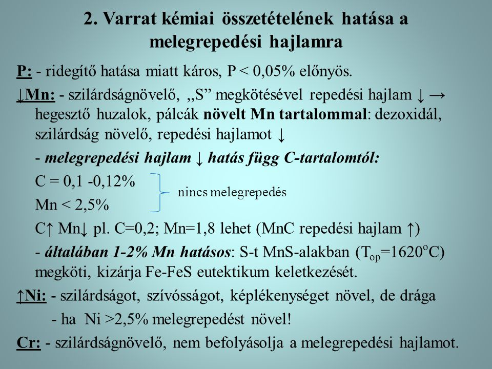 2. Varrat kémiai összetételének hatása a melegrepedési hajlamra
