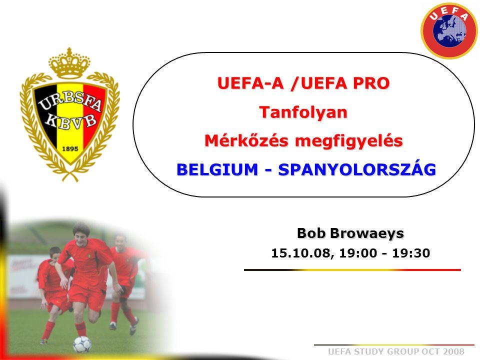 UEFA-A /UEFA PRO Tanfolyan Mérkőzés megfigyelés BELGIUM - SPANYOLORSZÁG