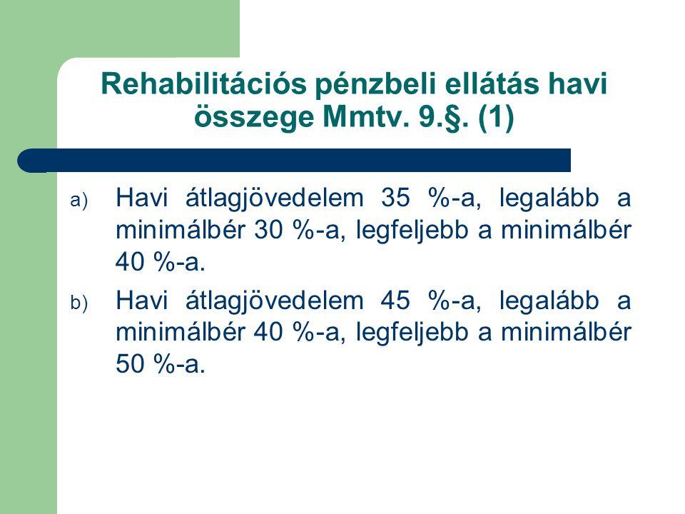 Rehabilitációs pénzbeli ellátás havi összege Mmtv. 9.§. (1)