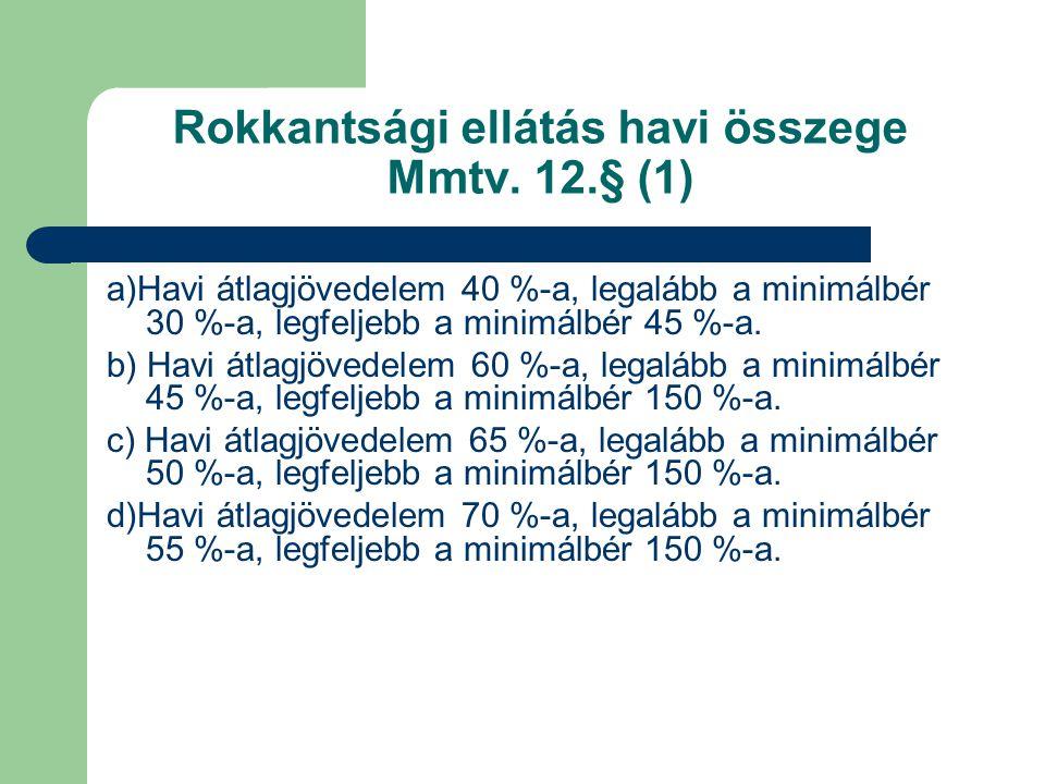Rokkantsági ellátás havi összege Mmtv. 12.§ (1)