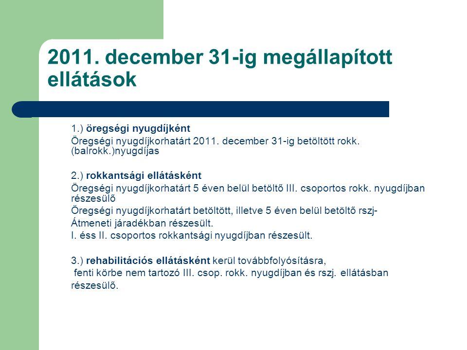 2011. december 31-ig megállapított ellátások