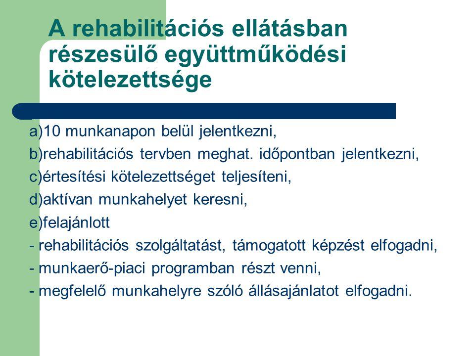 A rehabilitációs ellátásban részesülő együttműködési kötelezettsége