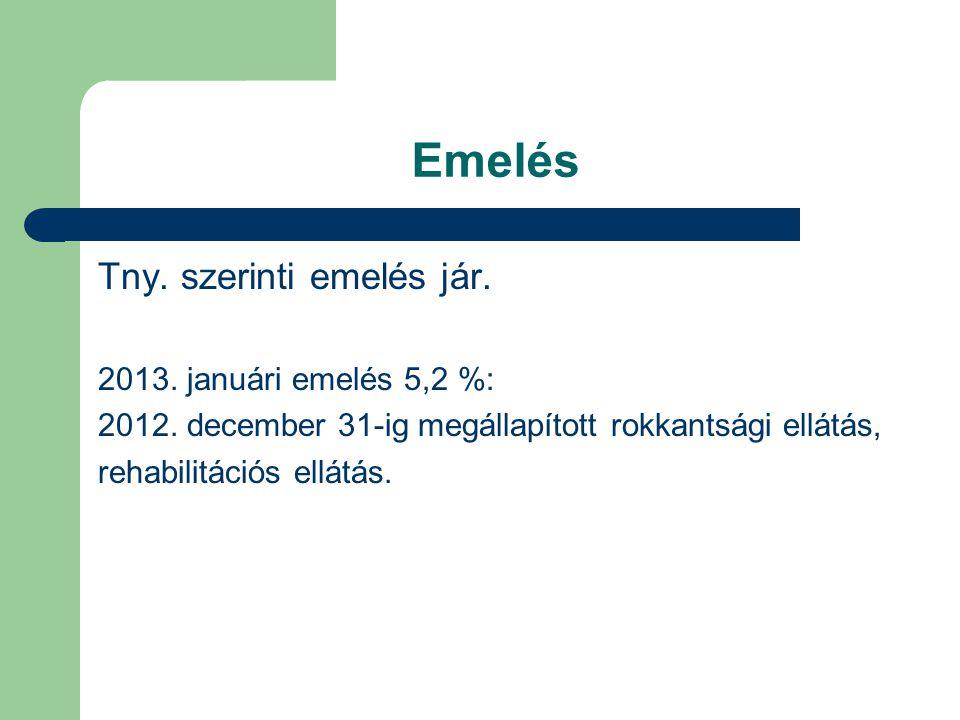 Emelés Tny. szerinti emelés jár. 2013. januári emelés 5,2 %: