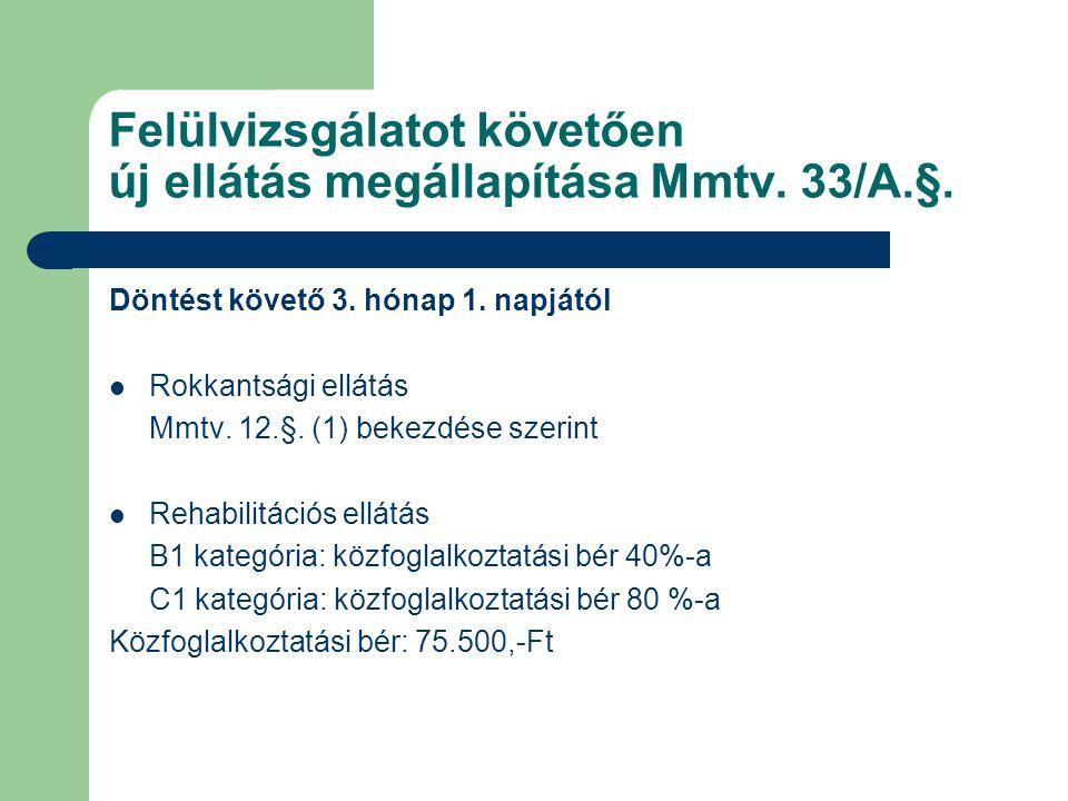 Felülvizsgálatot követően új ellátás megállapítása Mmtv. 33/A.§.