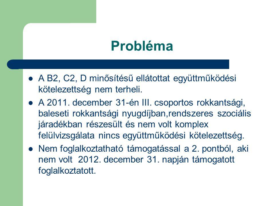 Probléma A B2, C2, D minősítésű ellátottat együttműködési kötelezettség nem terheli.