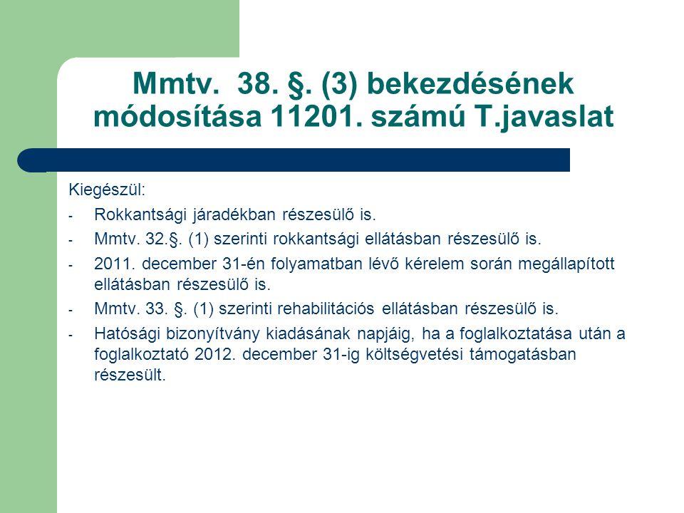 Mmtv. 38. §. (3) bekezdésének módosítása 11201. számú T.javaslat