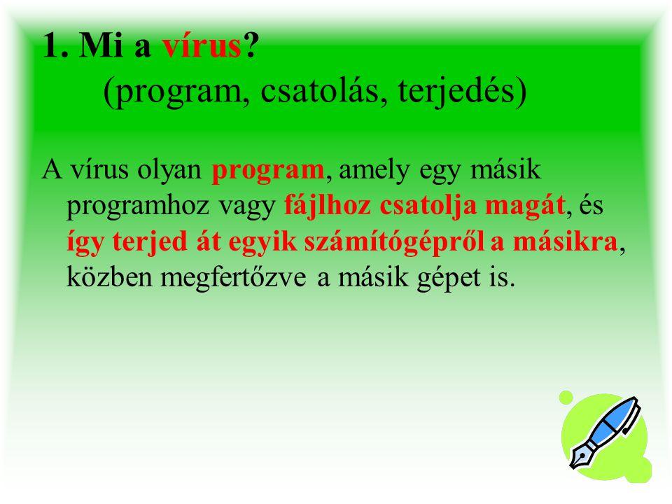 1. Mi a vírus (program, csatolás, terjedés)