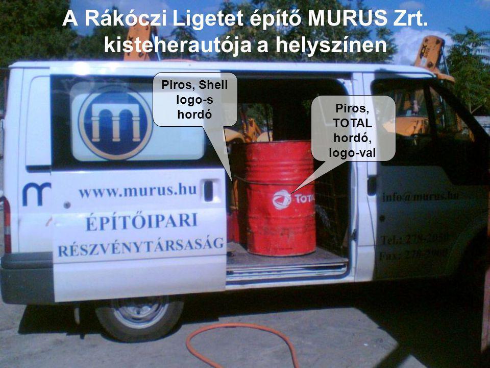 A Rákóczi Ligetet építő MURUS Zrt. kisteherautója a helyszínen