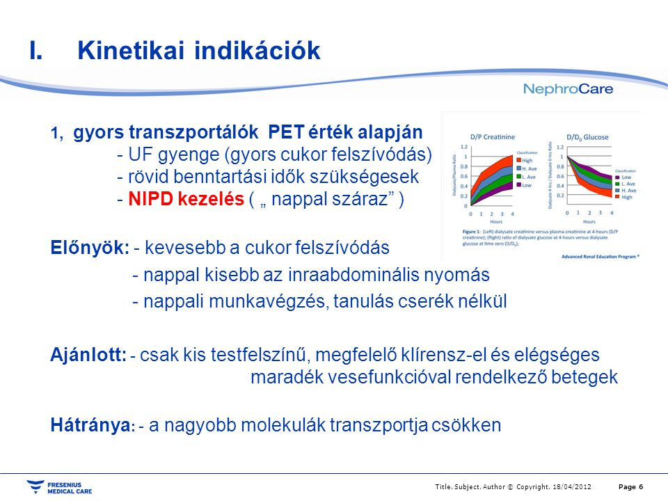 I. Kinetikai indikációk