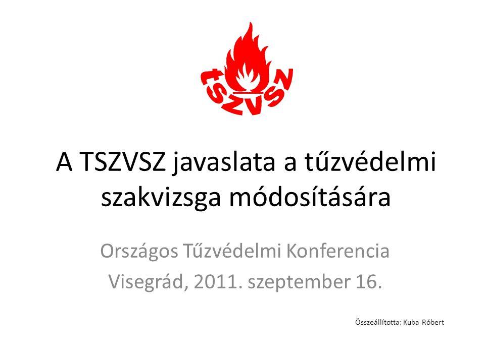 A TSZVSZ javaslata a tűzvédelmi szakvizsga módosítására