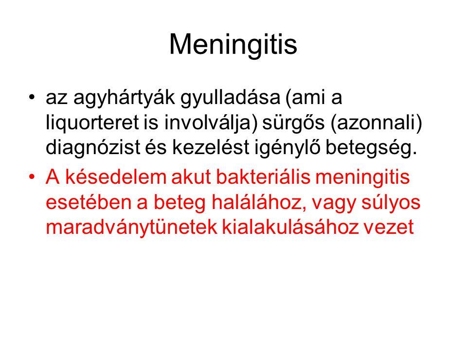 Meningitis az agyhártyák gyulladása (ami a liquorteret is involválja) sürgős (azonnali) diagnózist és kezelést igénylő betegség.