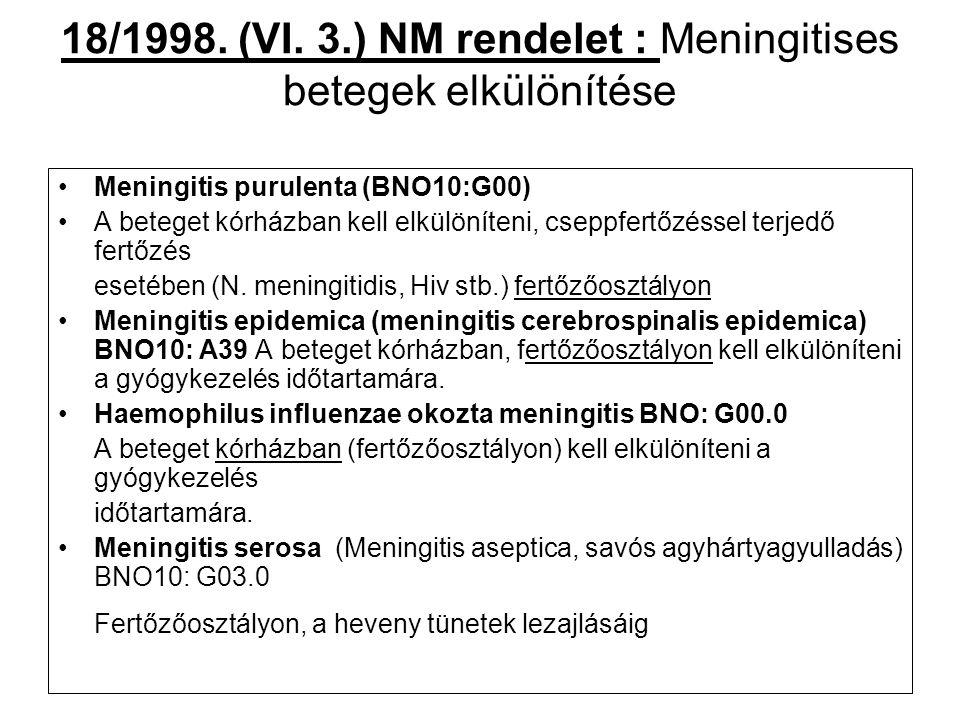 18/1998. (VI. 3.) NM rendelet : Meningitises betegek elkülönítése