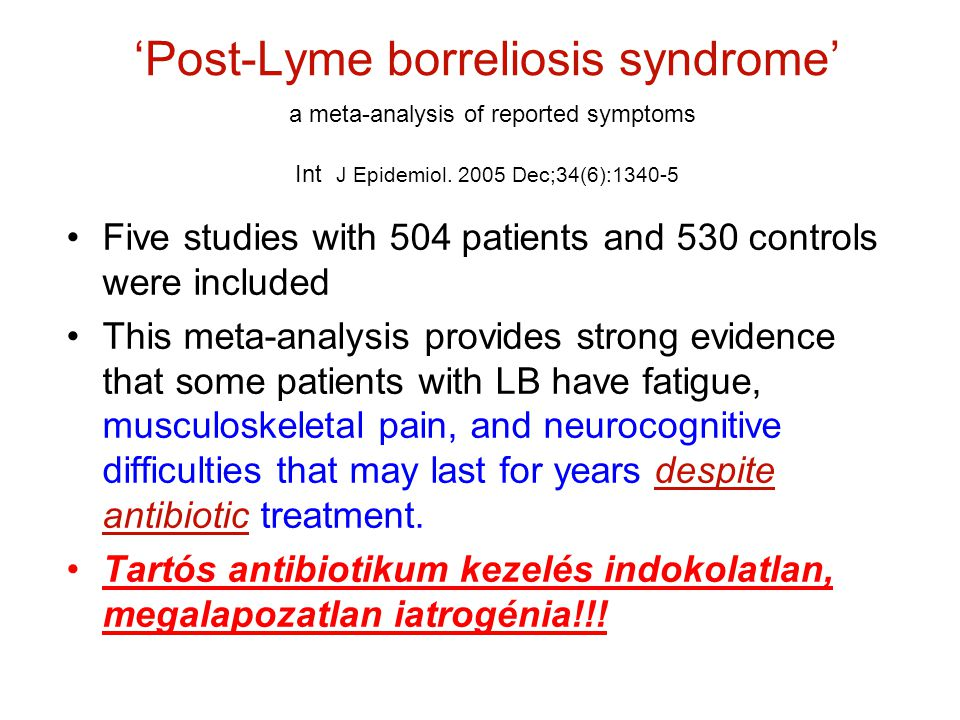 'Post-Lyme borreliosis syndrome' a meta-analysis of reported symptoms Int J Epidemiol Dec;34(6):1340-5