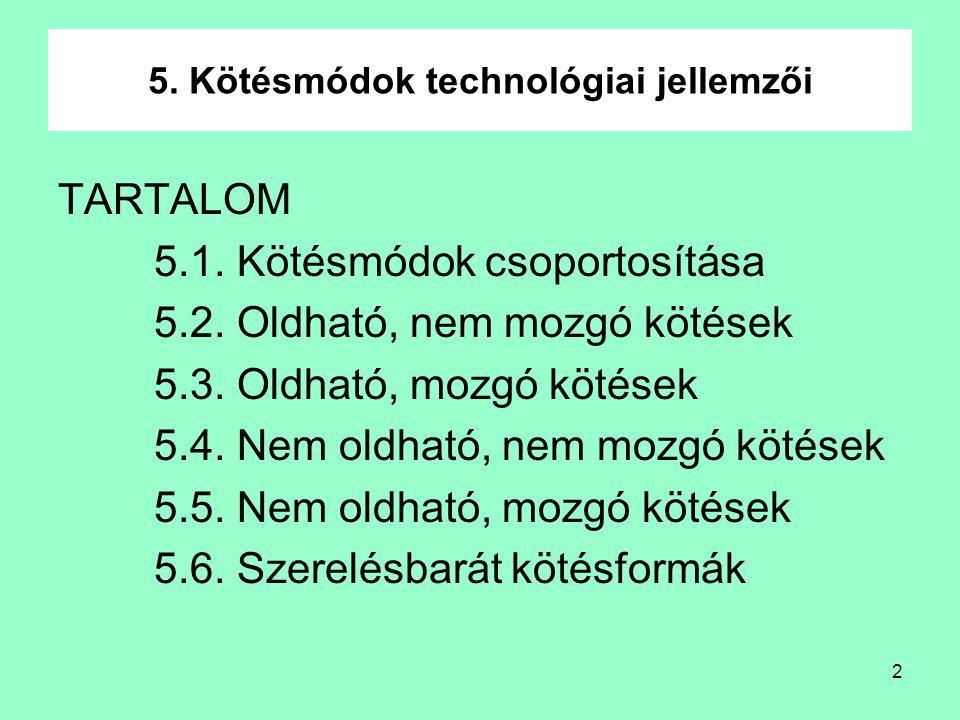 5. Kötésmódok technológiai jellemzői