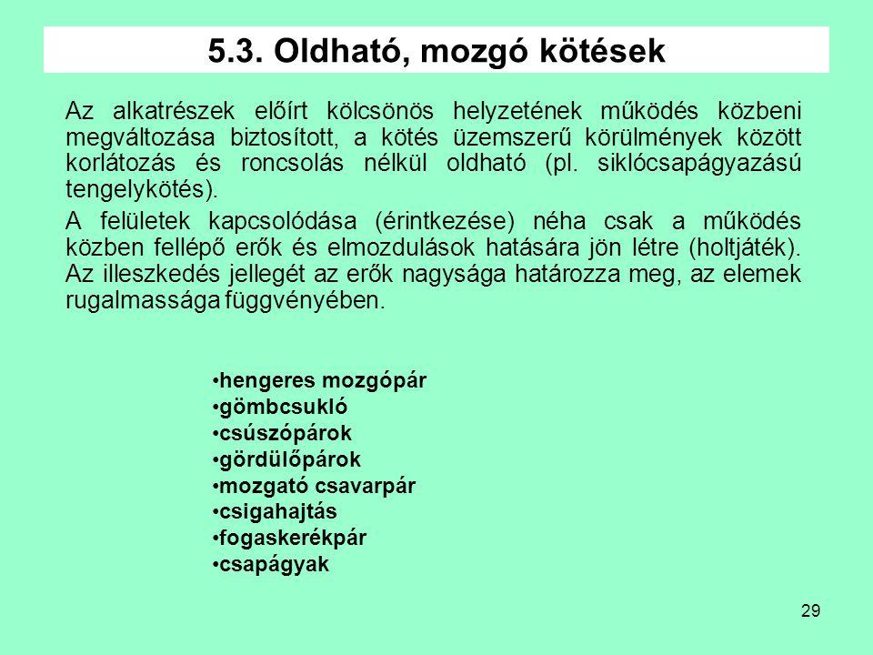 5.3. Oldható, mozgó kötések