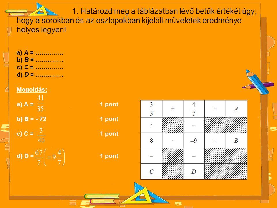 1. Határozd meg a táblázatban lévő betűk értékét úgy, hogy a sorokban és az oszlopokban kijelölt műveletek eredménye helyes legyen!