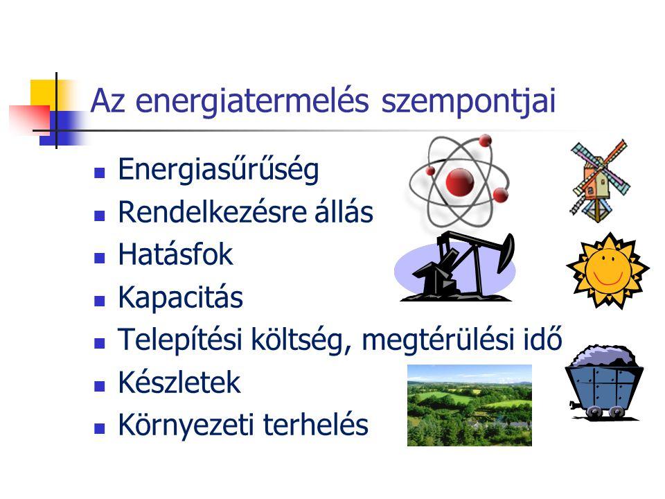 Az energiatermelés szempontjai