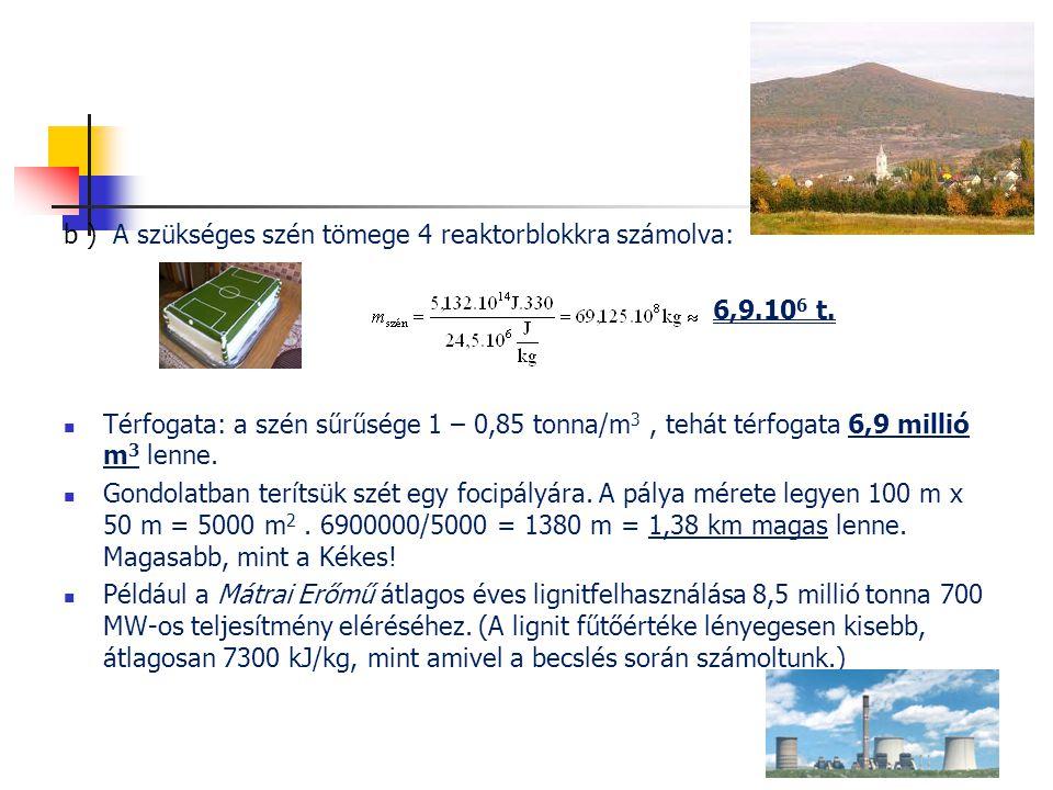 b ) A szükséges szén tömege 4 reaktorblokkra számolva: